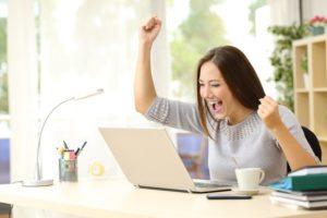 Happy woman having gotten a dream job